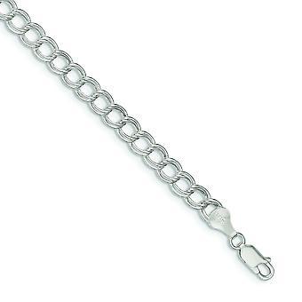 925 Sterling Ezüst Üreges polírozott Homár Karom bezárása 6mm Double Link Charm karkötő Homár Karom Ékszer Ajándékok W