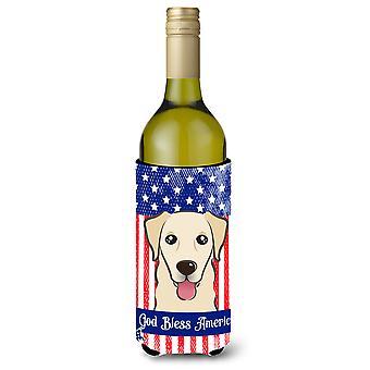 God Bless American Flag with Golden Retriever Wine Bottle beverage Insulator Hug