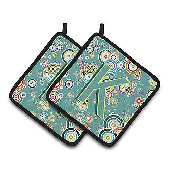 Letter K Circle Circle Teal Initial Alphabet Pair of Pot Holders