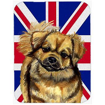 Tibetan Spaniel with English Union Jack British Flag Glass Cutting Board Large S