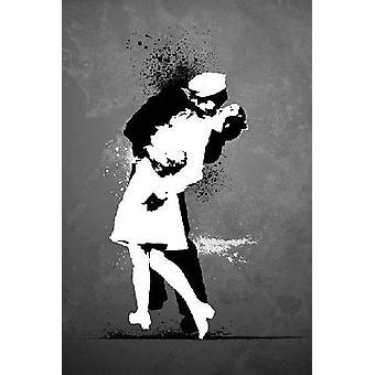 Banksy kys krige ende kys plakat plakat Print