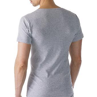 Algodão Casual cor cinza sólido Top de manga curta Mey 49107-620 masculino