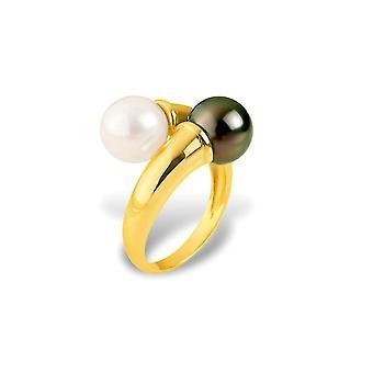 Bague Femme Perle de Culture Blanche et Perle de Tahiti et Or jaune 375/1000 3594