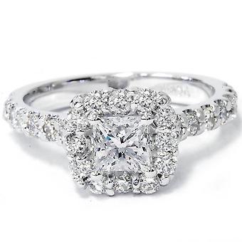 プリンセス カット ダイヤモンド婚約指輪 1 1/10 Ct ハロー バンド 14 k ホワイトゴールド