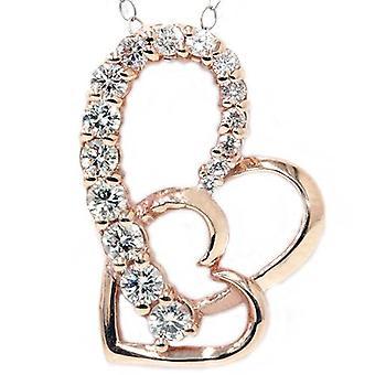14K Rose Gold 1ct Diamant Reise Herzanhänger