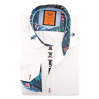 Oscar Banks Tropical Trim Collar Design Mens Shirt