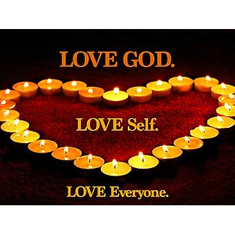 Love God Self Everyone Poster Motivational Candle Print (24x18)