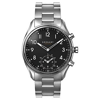 Kronaby 43mm APEX Bluetooth Stainless Steel Black Dial A1000-1426 S1426/1 Watch