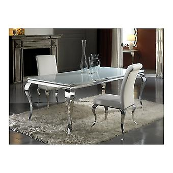 Schuller Barroque Chrome Leg Glass Top Dining Table 208x76cm
