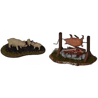 Barbecue and pigs enclosure for Nativity scene Christmas Nativity stable Nativity accessories