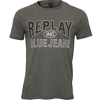 Replay Jeans blauw Logo T-Shirt, grijs Melange
