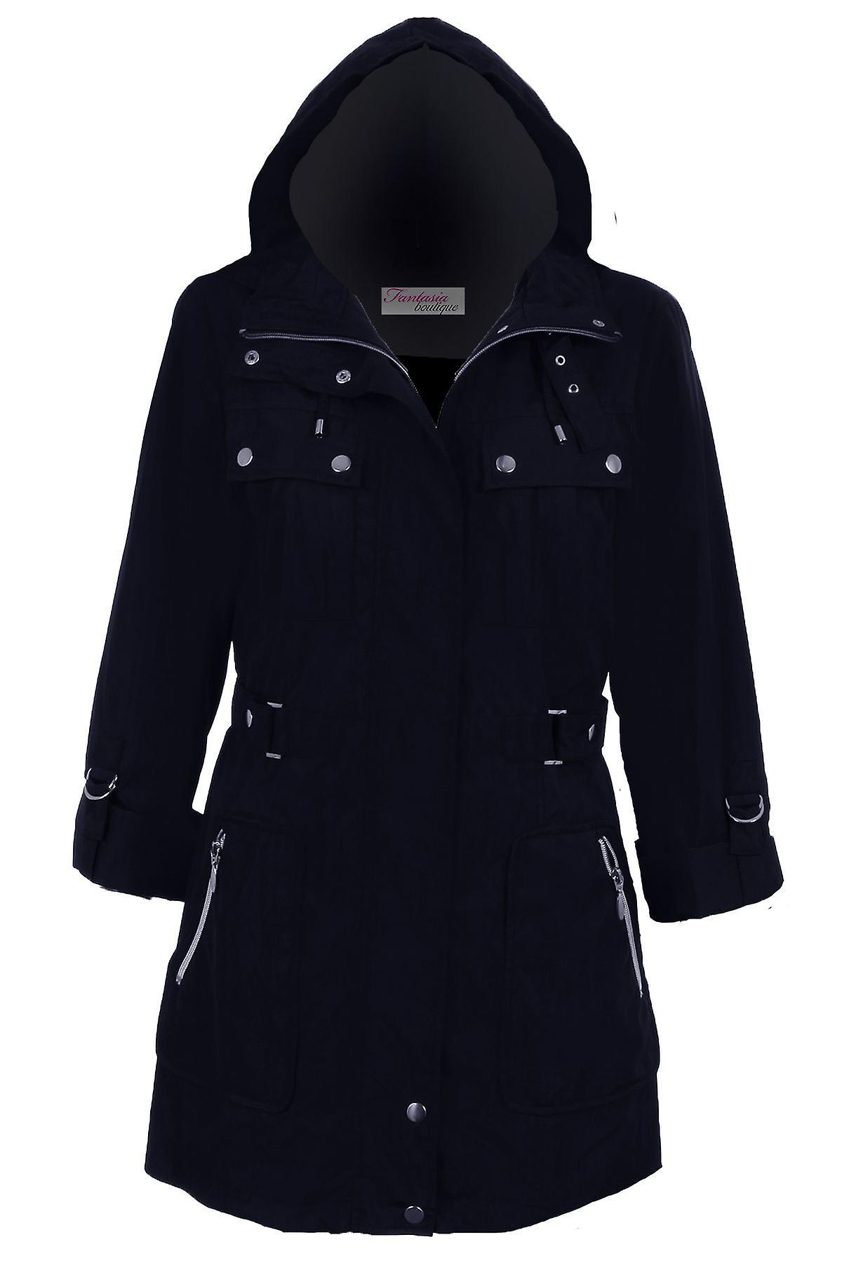 Hyvät Turn Up pitkähihainen irrotettava huppu suihkunkestävä Naisten takki