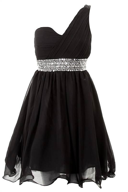 Ladies One Shoulder Padded Bra Bustier Beaded Womens Smart Evening Party Skater Dress