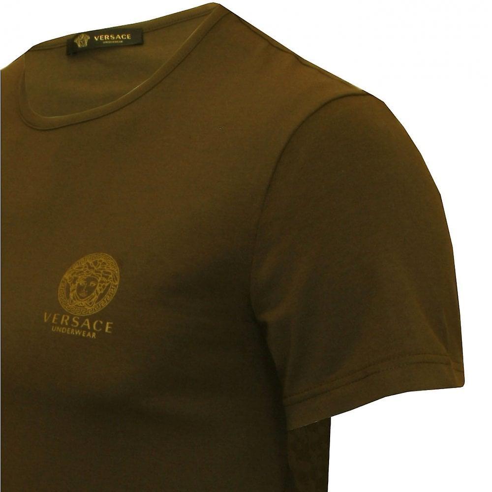 Versace ikoniske Crew hals strekke bomull t skjorte, Khaki