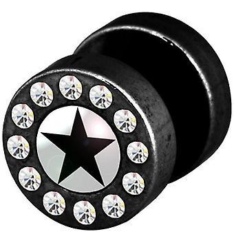 Fake Cheater Funky orelha Plug, brinco, joias de corpo, estrela negra com pedras
