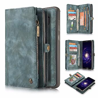 CASEME Samsung Galaxy S8 Plus Retro leather wallet Case Blue