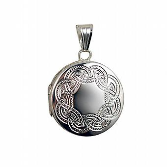 Silber 23mm Runde flache Celtic hand graviertes Medaillon