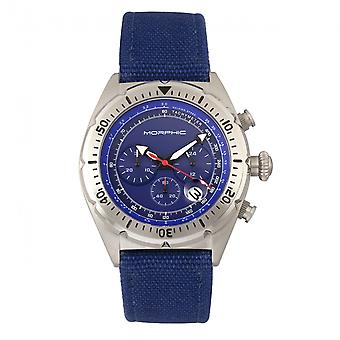 Morphic M53 Series Chronograph Fiber-Weaved Leather-Band Watch w/Date - Silver/Blue
