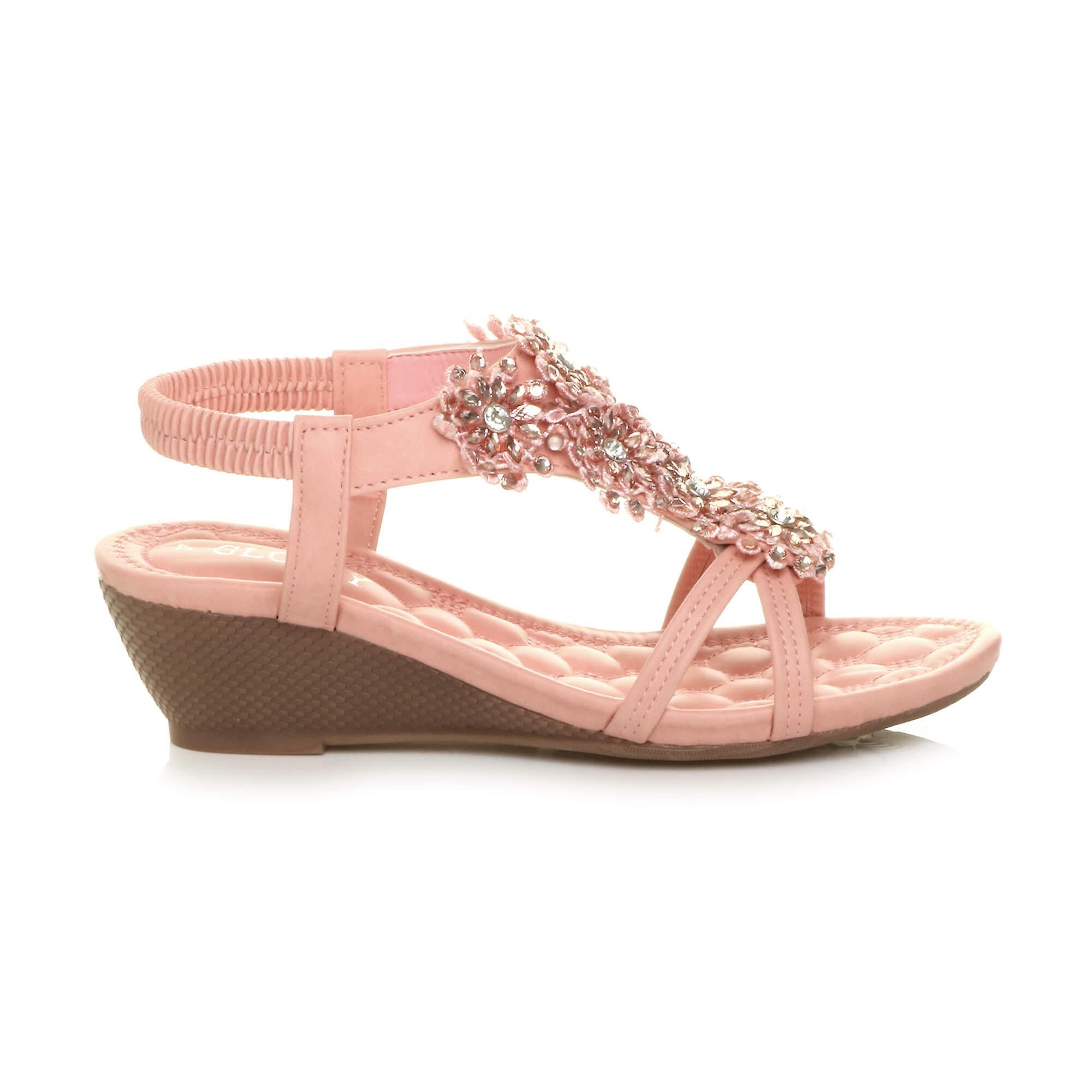 Ajvani damskie połowy wedge obcasa kwiat diamante t-bar strappy slingback sandały Q9Don