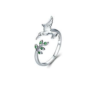 Verstellbare Ring Frau Vogel Kolibri geschmückt mit grün und Silber Swarovski Kristall 925 8117