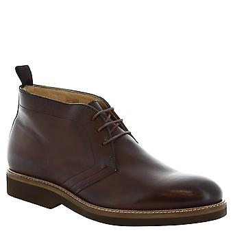 Leonardo Shoes Man's handmade ankle boots in brown leather