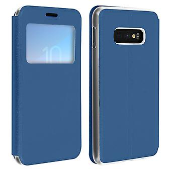 Window flip case, flip wallet case with stand for Samsung Galaxy S10e – Blue