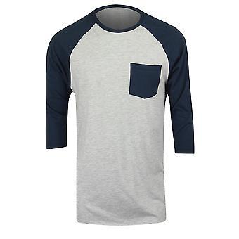 QUIKSILVER Pocket Mens manica 3/4 camicia Raglan - Heather Gray/Navy