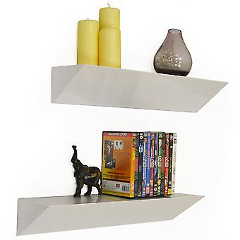 Wedge - Wall Mounted 2ft / 60cm Floating Chunky Shelves - Pack Of 2 - White