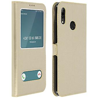 Double window flip standing case for Huawei P Smart 2019 / Honor 10 Lite - Gold