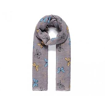 Intrigue Womens/Ladies Stripy Butterfly Print Scarf