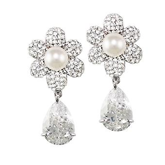 Eternal Collection Candide Cubic Zirconia And Austrian Crystal Silver Tone Drop Pierced Earrings
