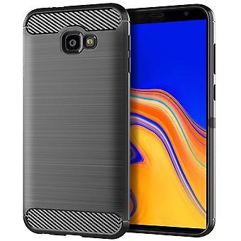 Samsung Galaxy J4+ Plus TPU Case Carbon Fiber Optics Brushed Protection Case Grey
