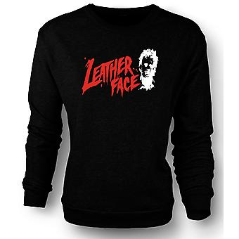 Mens Sweatshirt Leather Face - Texas Chainsaw - Horror