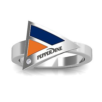 Pepperdine Universität graviert Sterling Silber Diamant geometrische Ring in blau und Orange