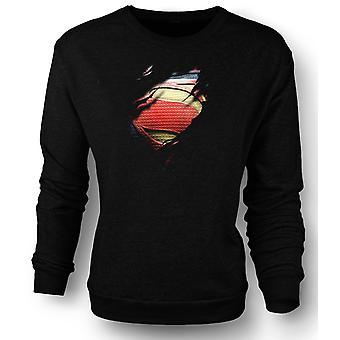 Mens Sweatshirt New Super Man Costume - Superhero Ripped Design