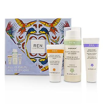 Ren All Is Calm All Is Bright Set: Mask 15ml + Firming Serum 10ml + Day Cream 50ml 3pcs