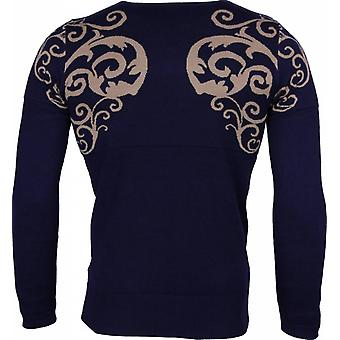 Casual Sweater - Tattoo Motif Embroidery - Blue