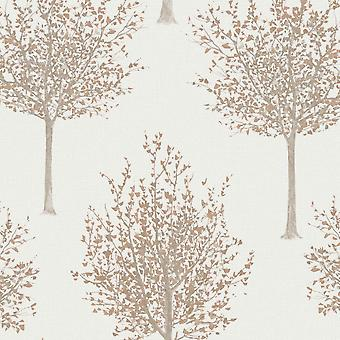 Grandeco Nordic Forest Tree Pattern Wallpaper Textured Glitter Leaf Motif NG2101