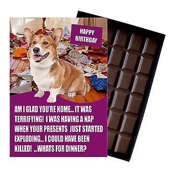 Welsh Corgi śmieszne prezenty urodzinowe dla miłośnika psów Box Chocolate powitanie karty prezent