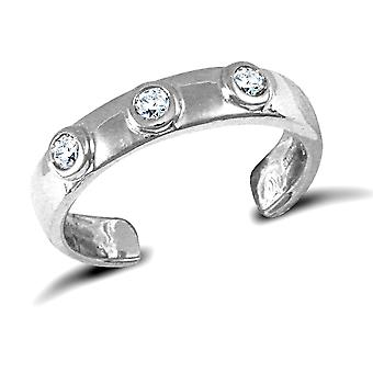Jewelco London Ladies 9ct White Gold White Round Brilliant Cubic Zirconia Trilogy Band Toe Ring