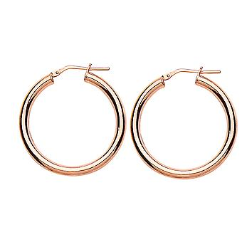 Jewelco London Rose Gold-Plated Sterling Silver Round Tube Polished Hoop Earrings 3.2cm 3mm