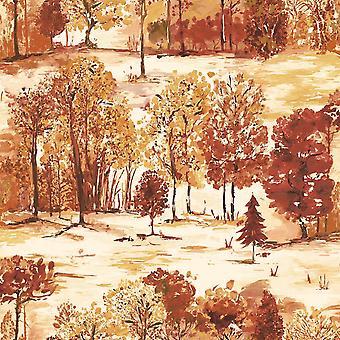 Woodland Forest Trees Wallpaper Orange Cream Green Watercolour Effect Holden