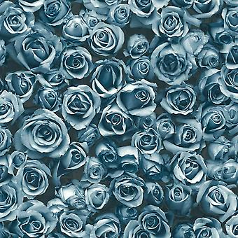 Small Blue Roses Floral Wallpaper Flowers Photographic Collage Muriva Rosalee