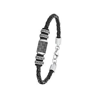 s. Oliver Jewel mænds armbånd rustfrit stål læder Carbonbeads 2026108