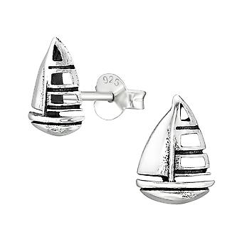 Sejlbåd - 925 Sterling Silver Plain Ear Studs - W38895x