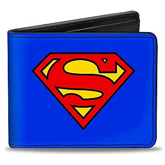 Simbolo di Superman su Blue Vegan Leather Bi-Fold Wallet