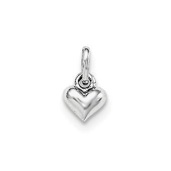 925 Sterling Zilveren Rh Verguld voor jongens of meisjes gepolijst Love Heart Hanger Ketting - .3 Gram
