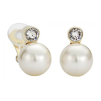 Traveller clip earring - 12mm cream pearl - 22ct gold plated - 113486