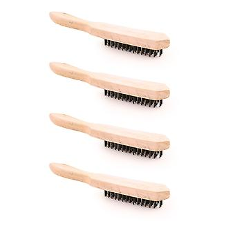 Charles Bentley Wire Scratch Brush 4-Row For Rust Removal - (4 PACK)