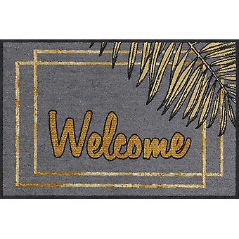 Salonloewe Doormat Welcome Gold Leaves 50 x 75 cm Washable Dirt Mat